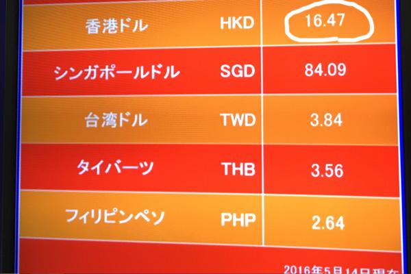 成田空港で香港ドルを両替すると大損