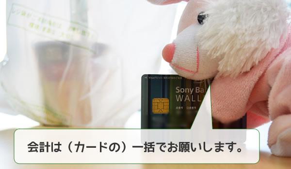デビットカードで買いものをするうさ女