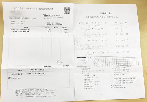 湘南美容クリニックとTBCの見積書