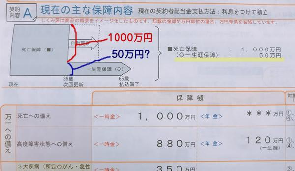 生命保険の一生涯保障は50万円だけ