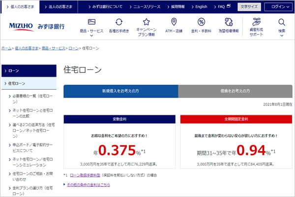 みずほ銀行「フラット35」の住宅ローン