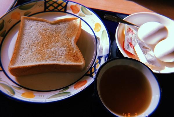 御神火温泉で食べた朝食