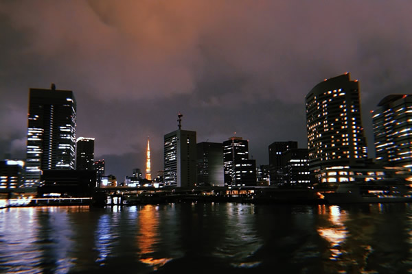 伊豆大島へ向かう船から見える夜景