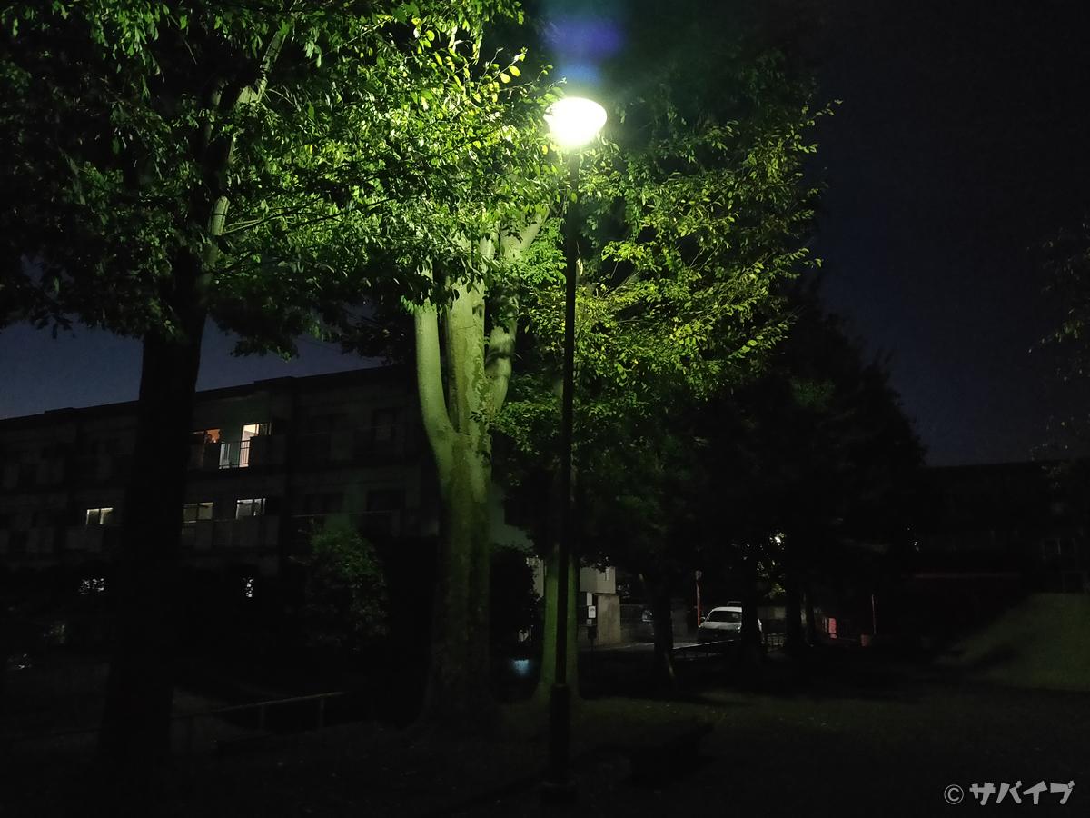 OPPO Reno Aのカメラで夜の公園を撮影