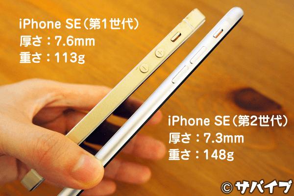 iPhone SE「第1世代」と「第2世代」の厚さと重さ比較