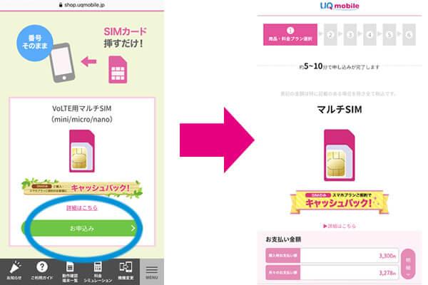 UQモバイルの申し込み方法