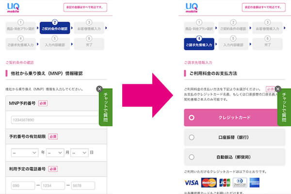 UQモバイルの申し込み方法2